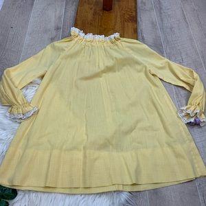 Vintage Gingham Yellow Eyelet Maxi Dress 3241